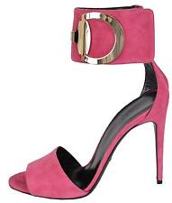 NEW Gucci 388366 Pink Suede Rooney Ankle Cuff Horsebit Sandals Shoes 37.5 7.5