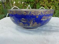 Large Carlton Ware Blue Lustre Bowl Pagoda Pattern Chines Kang Hsi Circa 1920's