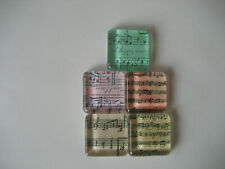 Music Notes Square Glass Magnets Set of 5