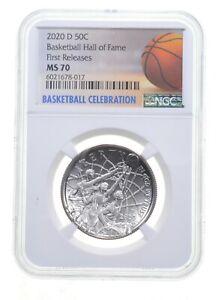 2020 D Basketball HOF Commemorative Half Dollar MS70 FR NGC