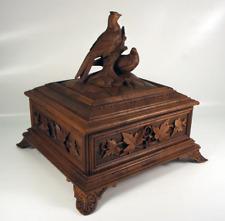 """Antique HC Black Forest 9.75"""" Document, Jewelry Box, Casket w/ Birds, Excellent"""