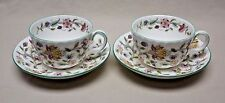 Minton Bone China Set of 2 Haddon Hall Pattern Footed Tea Cups and Saucers