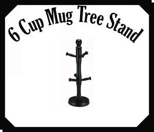 Wooden 6 Cup Mug Tree Stand Kitchen Storage Rack Holder Drainer Organiser Stand