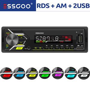 1 DIN Car Audio Radio Stereo RDS AM FM Bluetooth MP3 Player 2 USB SD AUX In-dash