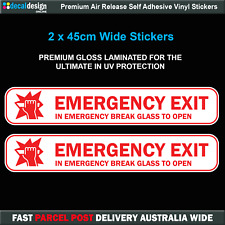 Emergency Exit Break Glass Stickers x2 passenger bus transport sticker #E006