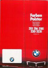 BMW SERIE 3 315 316 318 i 320 323i e21 Colore Trim 1981-82 ORIGINALE UK Opuscolo