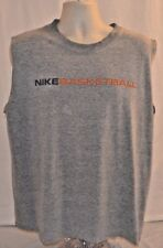 Vtg Nike Swoosh Sleeveless T-Shirt Spell Out Basketball Gray Mens L