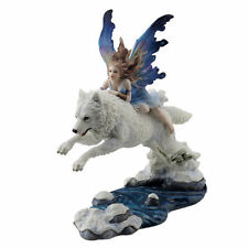 "9.25"" Fairy Riding on Leaping Arctic Wolf Sculpture Figure Statue Home Decor"