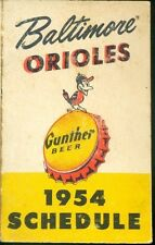 1954 Baltimore Orioles Gunther Beer Pocket Schedule Tri-Fold Inaugural Year