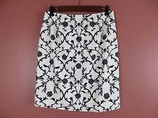 SK07096- TALBOTS Woman 97% Cotton Pencil Skirt Black Whtie Geo Stretch 10P MINT