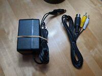 Sega Genesis (Model 1) System Power Supply and AV Cable/TV Hookups