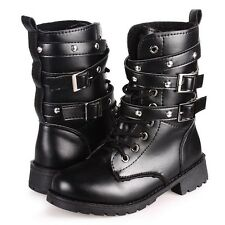 Women PU Leather Lace Up Ankle Martin Biker Boots Mid Calf Combat Military Shoes