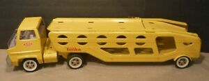 Vintage 1960's Tonka Pressed Steel Yellow Car Transporter Semi Truck Car Hauler
