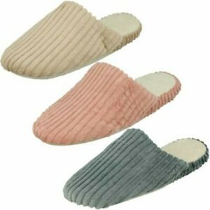 Ladies Spot On Stripe Detailed Mule Slippers 'SL77'