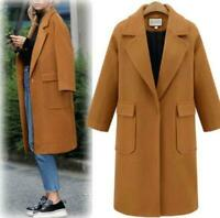Fashion Womens Winter Wool Blend Coat Long Lapel Parka Overcoat Outwear Trench