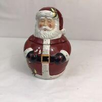 Pier 1 Christmas Cookie Jar Santa Claus Ceramic 2pc Candy Cane cone Holly Winter