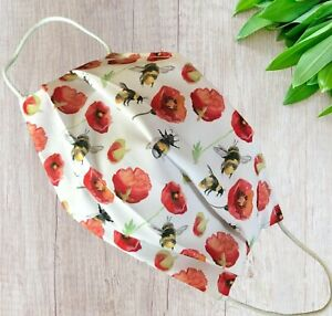 POPPY AND BEES Face mask  Double layered with filter pocket POSTED IN 24 HR