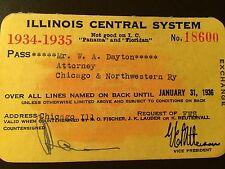 1934-35 Illinois Central Railroad Company railroad pass