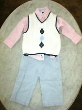 boy 6-12 mo. Janie and Jack seersucker pants, argyle sweater vest, pink shirt