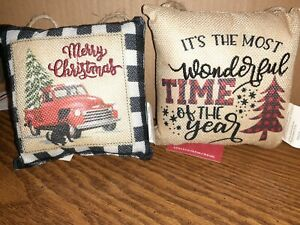 2020 Christmas Mini Door Pillows Red Truck Buffalo Plaid Wonderful TimeSet Of 2