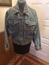 Prezzia Acid Washed Cropped Denim Jean Jacket Leather Trim Size M Medium 80's