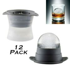 Ice Ball Maker Mold -12x- Silicone Lid Large Round 2.5in Sphere Cube for Whiskey