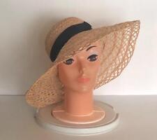 Vintage Wide Brim Straw Sun Hat with Black Grosgrain Ribbon Natural Tan Floppy
