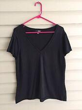 a.n.a. size women's XL black basic knit short sleeve v-neck top super soft