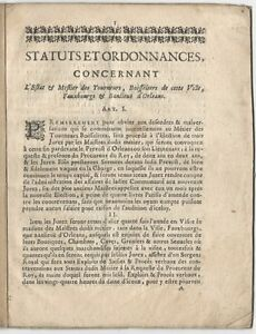1700 French Regulations for Wood Turning & Box / Bushel-making Trades @ Orleans