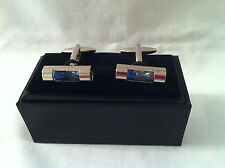 Chrome plated cufflinks, miniature  Egg timer on each