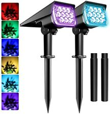2PACK Solar 20-LED RGB Spotlight Landscape Lights Outdoor Garden Pathway Lamps