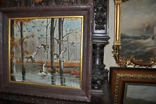 Spectacular Antique Flock of Duck Painting