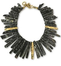 "Ashley Pittman New Fimbo Dark Horn & Bronze Collar Necklace 18"" Length MSRP $895"