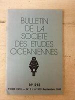 Bulletin de la Société des Etudes Océaniennes * N° 212 / Septembre 1980