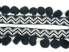 Zigzag Black Pom Pom Fringe Dangling Trim Lace Fluffy Braid Sewing Tape Supplies