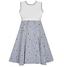 adelleo Mädchen Kleid Sommerkleid Festlich Hochzeit Einschulung schwungvoll weiß