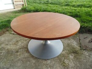 MID CENTURY TEAK AND BRUSHED STEEL ROUND TULIP COFFEE TABLE *FREE DELIVERY RETRO