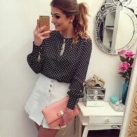 Women Long Sleeve Polka Dot T-Shirt Vintage Chiffon Blouse Tops Loose Shirt 6-14