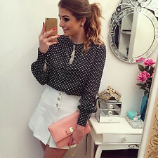 Women Long Sleeve Polka Dot T-Shirt Ladies Chiffon Blouse Tops Loose Shirt 6-14