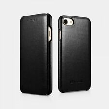 iPhone 7/iPhone 8/Se 2020 Leather Case Real Luxury Curved Edge Black