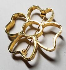 St. Patrick's Patty Pin Brooch Estate Gold Tone Openwork 4-Leaf Clover