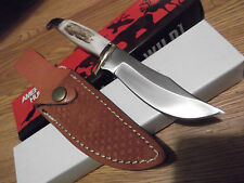 AMERICAN HUNTER MODEL #AH-433 STAG HANDLE BABY BOWIE KNIFE 440HC STAINLESS STEEL