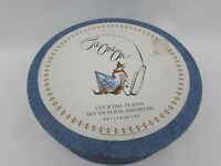 """Lot of 4 Pottery Barn Tie One On Cowboy Cocktail 8"""" Round Plates pottery barn"""