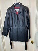 Croft Barrow Women's Black Leather Coat Zipper Belted Red Lined Jacket