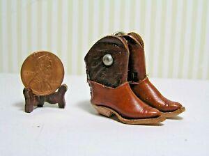 "Miniature Dollhouse Pr Leather Cowboy boots 1 1/4"" high / could be a bit bigger"