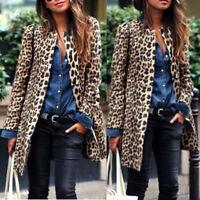 Women Circular collar Winter Warm Wind Coat Cardigan Leopard Print Long Coat