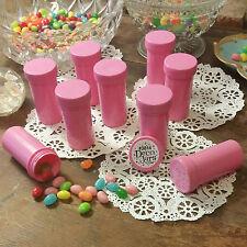 7 Pill Bottles PINK opaque JARS PINK CAPS LID Doc Birthday Party 3814 DecoJars