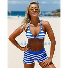 Bright BLUE White NAUTICAL Striped SWIM Shorts HIGH Waist BOYLEG Padded BIKINI 8