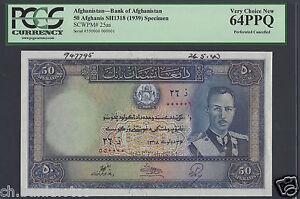 Afghanistan 50 Afghanis Sh1318-1939 P25as Specimen  Uncirculated