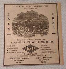 1964 Kimball & Prince Lumber Co. Vineland & Millville New Jersey Advertisement